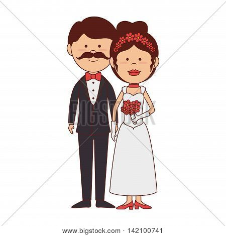 bride groom wedding marriage husbands love romance vector graphic isolated and flat illustration
