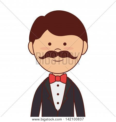 man mustache bow tie elegant hair guy boy adult suit handsome smiling vector graphic isolated and flat illustration
