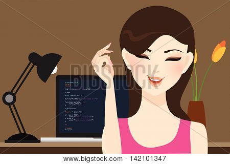 beautiful girl female programmer occupation jobs programming in laptop screen code behind vector