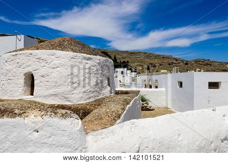 Traditional white houses of Lindos village, Rhodes island, Dodecanese, Greece.