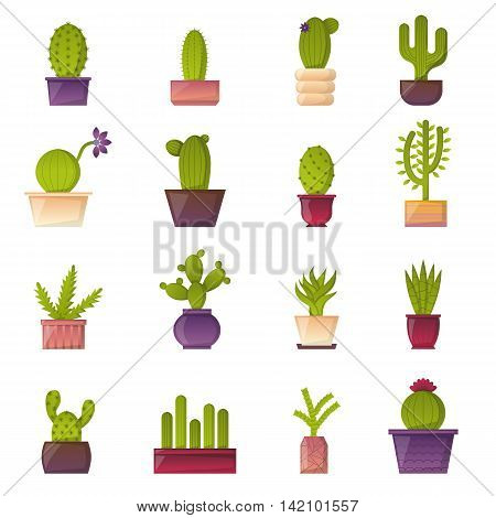 Vector illustration with cartoon isolated cactus icon. Vector house plant in flowerpot home interior design. Desert mexican green succulent.
