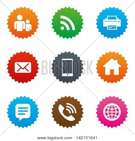 Contact, mail icons. Communication signs. E-mail, chat message and phone call symbols. Stars label button with flat icons. Vector