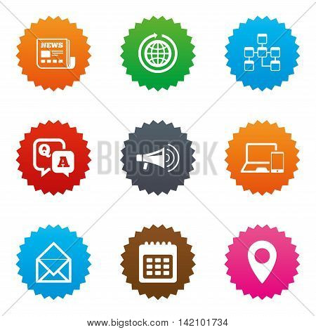 Communication icons. News, chat messages and calendar signs. E-mail, question and answer symbols. Stars label button with flat icons. Vector