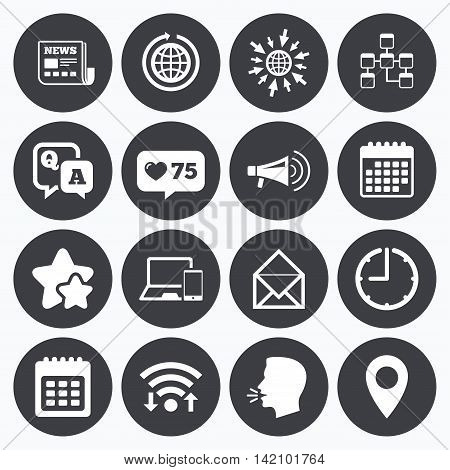 Calendar, wifi and clock symbols. Like counter, stars symbols. Communication icons. News, chat messages and calendar signs. E-mail, question and answer symbols. Talking head, go to web symbols. Vector