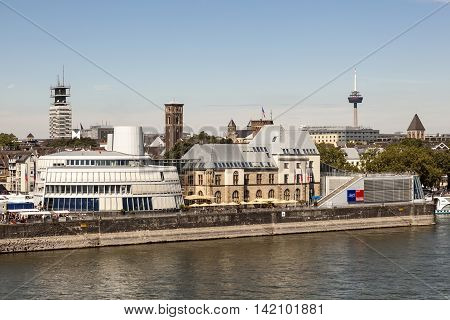 COLOGNE GERMANY - AUG 7 2016: The Imhoff chocolate museum in the city of Cologne. North Rhine-Westphalia Germany