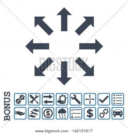 Explode Arrows icon with bonus pictograms. Glyph style is flat iconic symbol, smooth blue colors, white background. Bonus style is bicolor square rounded frames with symbols inside.
