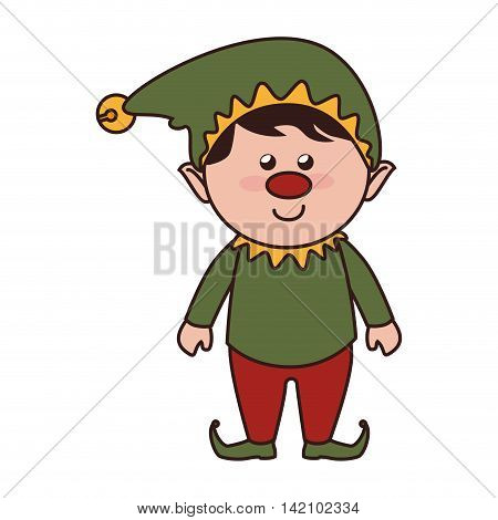 christmas elf helper season hat nose red smile vector graphic isolated and flat illustration