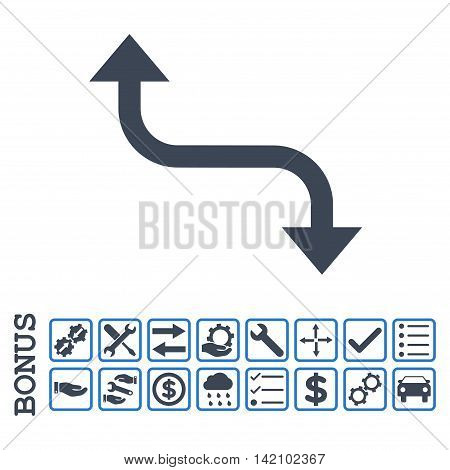 Opposite Bend Arrow icon with bonus pictograms. Glyph style is flat iconic symbol, smooth blue colors, white background. Bonus style is bicolor square rounded frames with symbols inside.