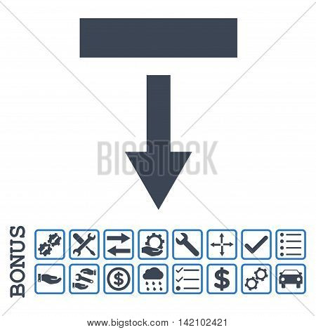 Pull Down icon with bonus pictograms. Glyph style is flat iconic symbol, smooth blue colors, white background. Bonus style is bicolor square rounded frames with symbols inside.