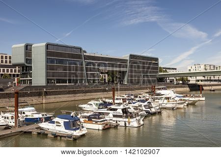 COLOGNE GERMANY - AUG 7 2016: The Microsoft Technology Center (MTC) at the Rheinauhafen in the city of Cologne Germany
