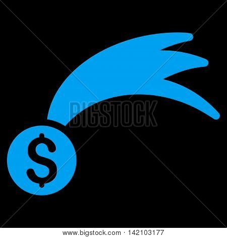 Lucky Money icon. Vector style is flat iconic symbol with rounded angles, blue color, black background.