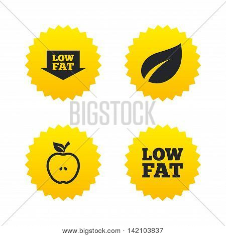 Low fat arrow icons. Diets and vegetarian food signs. Apple with leaf symbol. Yellow stars labels with flat icons. Vector