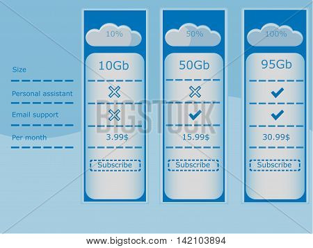 Three vector prices for cloud storage price table on a light background.