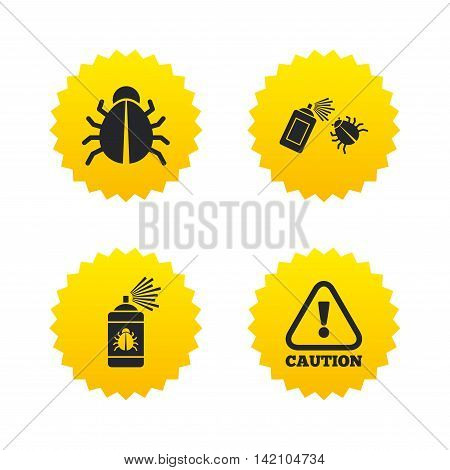 Bug disinfection icons. Caution attention symbol. Insect fumigation spray sign. Yellow stars labels with flat icons. Vector
