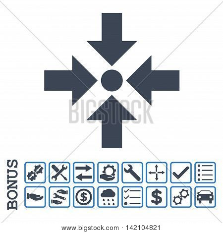 Shrink Arrows icon with bonus pictograms. Glyph style is flat iconic symbol, smooth blue colors, white background. Bonus style is bicolor square rounded frames with symbols inside.