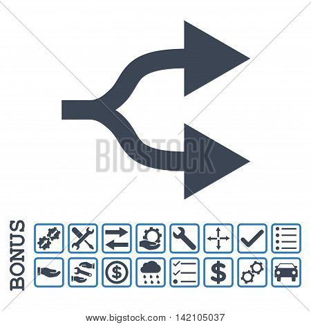 Split Arrows Right icon with bonus pictograms. Glyph style is flat iconic symbol, smooth blue colors, white background. Bonus style is bicolor square rounded frames with symbols inside.