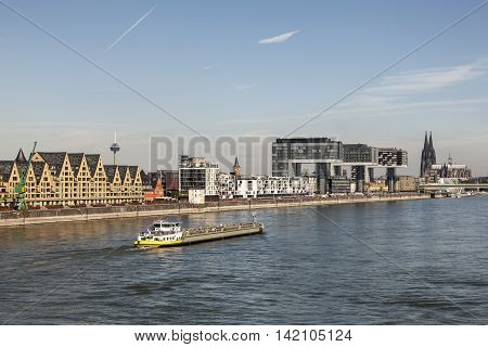 Cologne skyline whith the Rhine River in foreground. North Rhine-Westphalia Germany