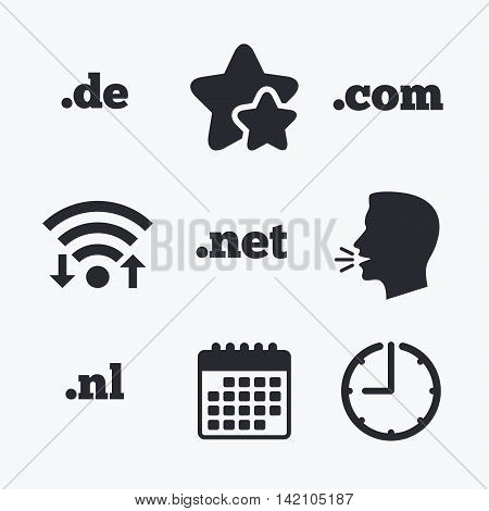 Top-level internet domain icons. De, Com, Net and Nl symbols. Unique national DNS names. Wifi internet, favorite stars, calendar and clock. Talking head. Vector
