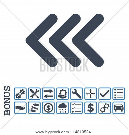 Triple Arrowhead Left icon with bonus pictograms. Glyph style is flat iconic symbol, smooth blue colors, white background. Bonus style is bicolor square rounded frames with symbols inside.