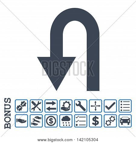 Turn Back icon with bonus pictograms. Glyph style is flat iconic symbol, smooth blue colors, white background. Bonus style is bicolor square rounded frames with symbols inside.