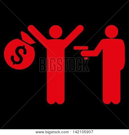 Thief Arrest icon. Vector style is flat iconic symbol with rounded angles, red color, black background.