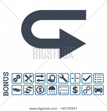 Turn Right icon with bonus pictograms. Glyph style is flat iconic symbol, smooth blue colors, white background. Bonus style is bicolor square rounded frames with symbols inside.