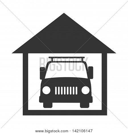 car garage house inside vehicle auto residential transport vector graphic isolated and flat illustration