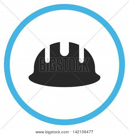 Builder Hardhat glyph icon. Style is bicolor flat rounded iconic symbol, builder hardhat icon is drawn with blue and gray colors on a white background.