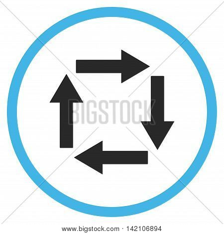 Circulation Arrows glyph icon. Style is bicolor flat rounded iconic symbol, circulation arrows icon is drawn with blue and gray colors on a white background.