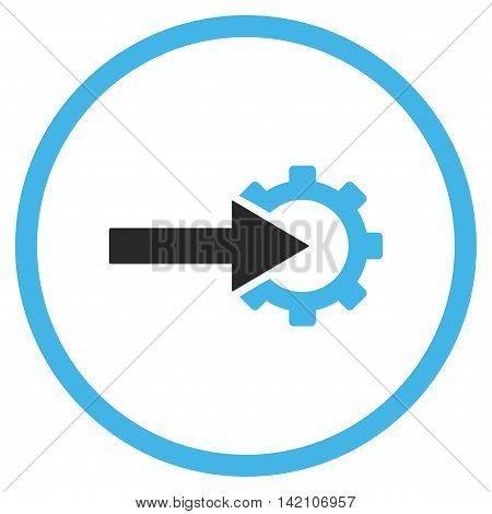 Cog Integration glyph icon. Style is bicolor flat rounded iconic symbol, cog integration icon is drawn with blue and gray colors on a white background.
