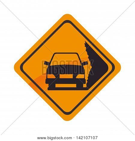 sign car yellow precaution caution symbol risk vector graphic isolated and flat illustration