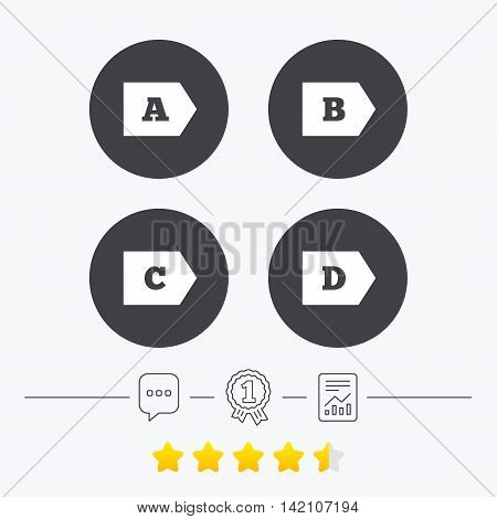 Energy efficiency class icons. Energy consumption sign symbols. Class A, B, C and D. Chat, award medal and report linear icons. Star vote ranking. Vector
