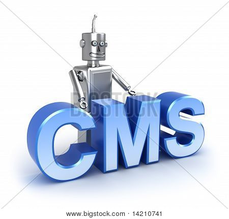 CMS : content management system concept. Isolated on white