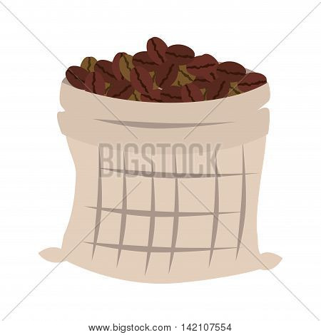 coffee sack bag bean drink cafe textile vector graphic isolated and flat illustration
