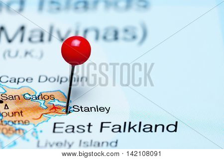 Stanley pinned on a map of Falkland Islands