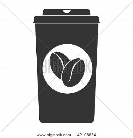 cup take bean grain away espresso coffee hot drink vector graphic isolated and flat illustration