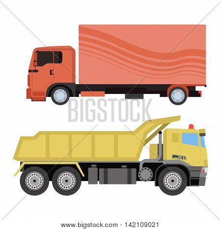 Trucks icons vector shipping cars vehicles cargo transportation by road. Delivery vehicle car shipping trucks and rail car with forklifts. Flat style icons trailer lorry traffic illustration.