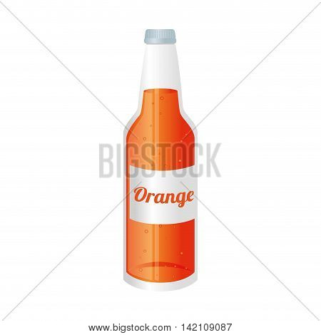 orange soda juice bottle glass liquid drink recipient cap vector graphic isolated and flat illustration