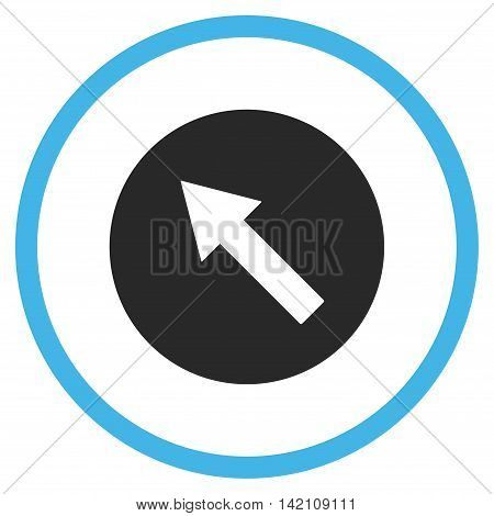 Up-Left Rounded Arrow glyph icon. Style is bicolor flat rounded iconic symbol, up-left rounded arrow icon is drawn with blue and gray colors on a white background.
