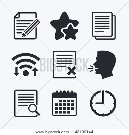 File document icons. Search or find symbol. Edit content with pencil sign. Remove or delete file. Wifi internet, favorite stars, calendar and clock. Talking head. Vector