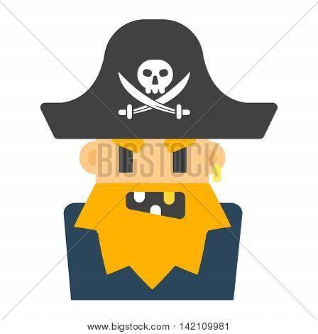 Captain pirate character costume isolated vector silhouette. Cartoon angry captain sailor pirate cartoon flat. Angry pirate costume character, comic man face avatar