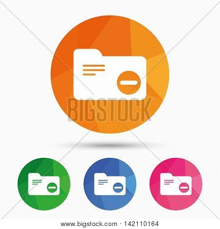 Delete document folder sign. Accounting binder symbol. Bookkeeping management. Triangular low poly button with flat icon. Vector