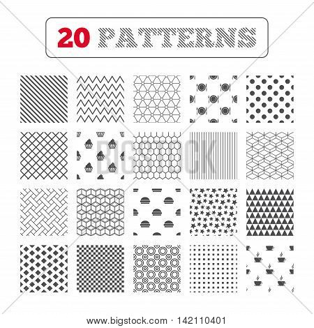 Ornament patterns, diagonal stripes and stars. Food and drink icons. Muffin cupcake symbol. Plate dish with fork and knife sign. Hot coffee cup and hamburger. Geometric textures. Vector
