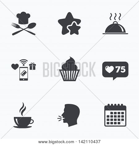 Food and drink icons. Muffin cupcake symbol. Fork and spoon with Chef hat sign. Hot coffee cup. Food platter serving. Flat talking head, calendar icons. Stars, like counter icons. Vector