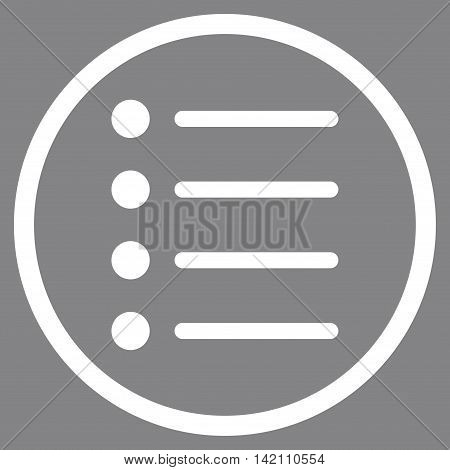 Items vector icon. Style is flat rounded iconic symbol, items icon is drawn with white color on a gray background.