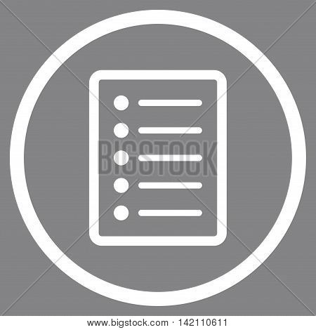 List Page vector icon. Style is flat rounded iconic symbol, list page icon is drawn with white color on a gray background.
