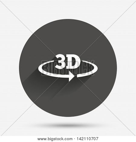 3D sign icon. 3D New technology symbol. Rotation arrow. Circle flat button with shadow. Vector