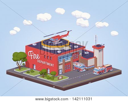 Fire station. 3D lowpoly isometric vector illustration