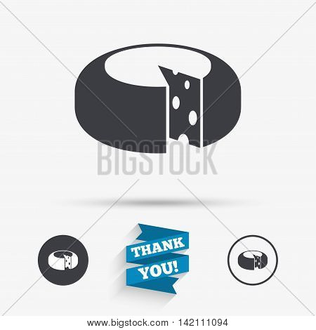 Cheese wheel sign icon. Sliced cheese symbol. Round cheese with holes. Flat icons. Buttons with icons. Thank you ribbon. Vector