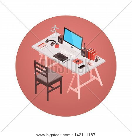 Designer workplace. 3D isometric vector concept illustration